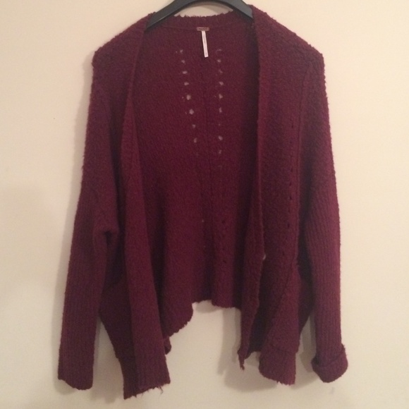 44% off Free People Sweaters - NWT Maroon Oversized Cardigan ...
