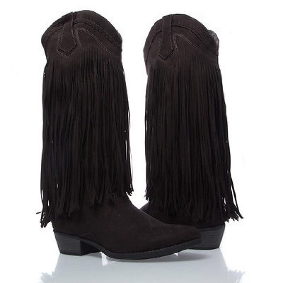 47% off Qupid Boots - Black Qupid western cowboy fringe boot size ...
