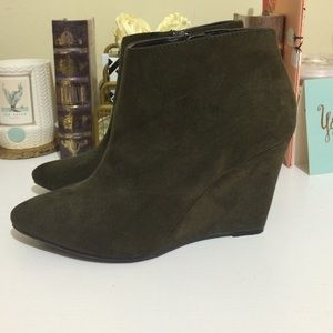Forever 21 Shoes - Olive Wedge Booties