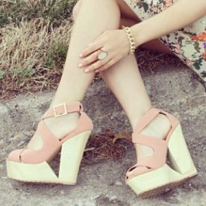 Qupid Shoes - Wedge Cut Out Sandals