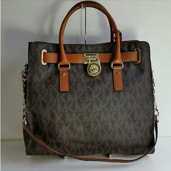 83e095205aaf7 Michael Kors Hamilton large signature brown tote NWT
