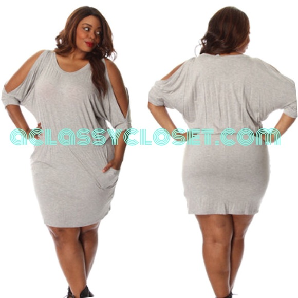  Grey Casual Open-Sleeve Dress (Plus Size) Boutique