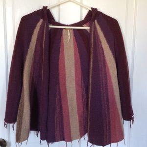 Free People Stripped hooded poncho