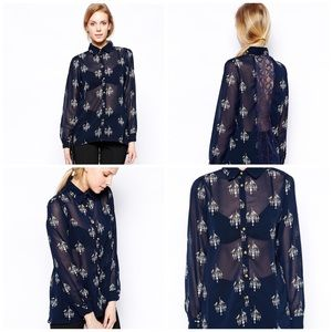 ASOS SugarHill Navy sheer Blouse Bird Chandelier