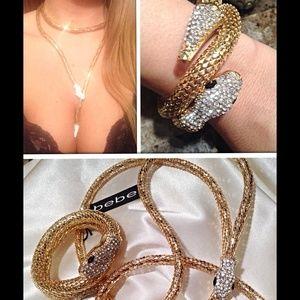 Bebe gold rhinestone snake head necklace& bracelet