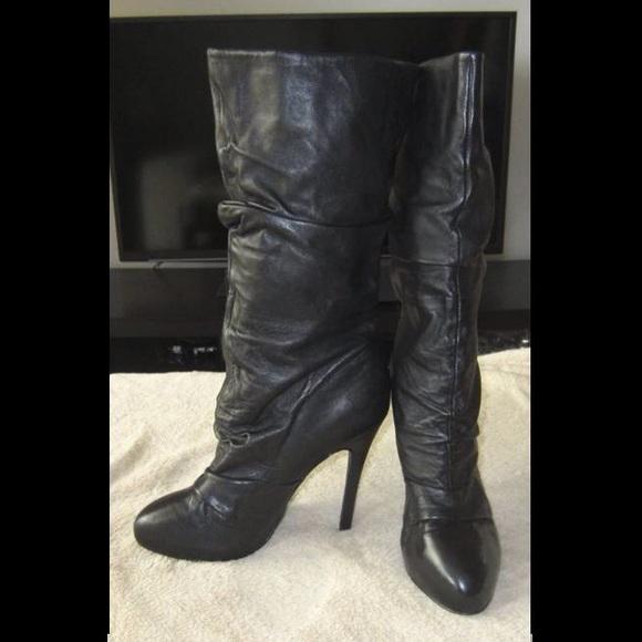 53 aldo shoes aldo black leather slouch high heel