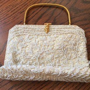  HOST PICK  SALE Vintage Ivory Beaded Handbag