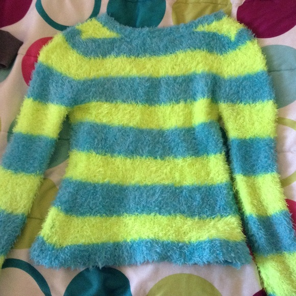 50% off Justice Sweaters - Blue and Yellow Striped Girl's Sweater ...