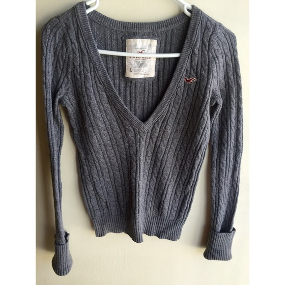 Hollister Sweaters , Hollister Women\u0027s Cable Knit V,Neck Sweater Gray