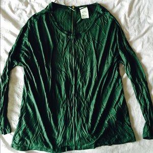 ZARA top. Zippered back detail. Forest green