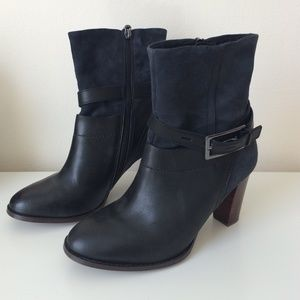 Clarks Shoes - Black Leather and Navy Suede Booties