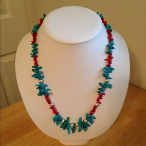 Jewelry - NM Turquoise, coral & Sterling silver necklace set