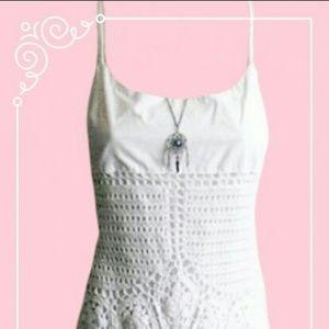 * Boho Hippie Chic White Crochet Maxi Dress *
