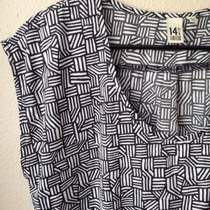 14th & Union Tops - Black & White Patterned Silky Top