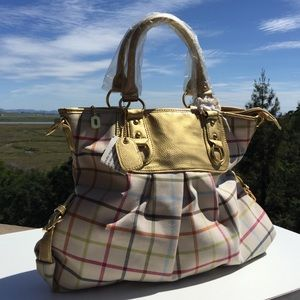 Handbags - New Plaid & Gold Tote with Purple Interior