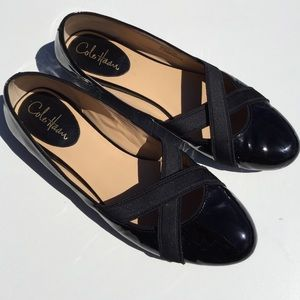 Cole Haan Shoes - Cole Haan Black Patent Leather Elastic Flats 10AA