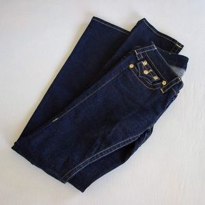 True Religion dark rinse jeans with gold thread