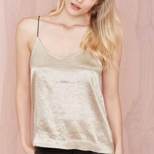Nasty Gal metallic platinum gold cami tank top