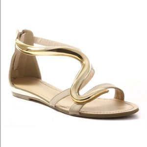 Cape Robbin Shoes - Beige Sandals with Gold Accent