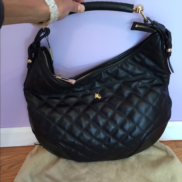 72ec9550ce6c Burberry quilted black leather hoxton hobo