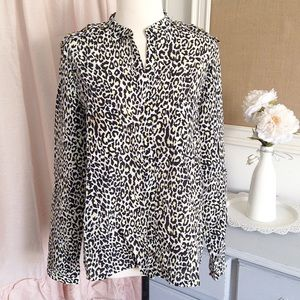 Studded Leopard Button Up Blouse