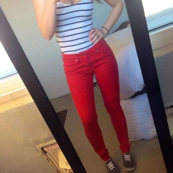 2980da8ef3d NWOT Levi s Bright Red Skinny Jean Leggings. M 5529843cf092821c560091a0