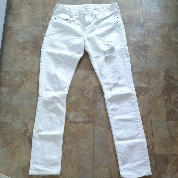 50% off H&M Pants - White denim cut up jeans from Adriana's closet ...