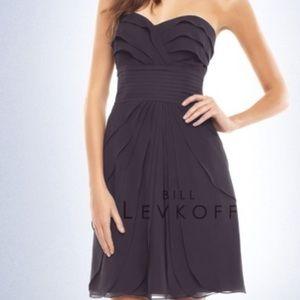 Bill Levkoff Plum Purple strapless chiffon dress