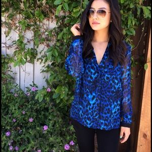 Sparkle & Fade Tops - Blue & Black Animal Print Shirt