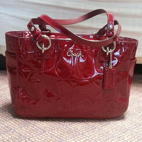 4e2dfe3135f2 Coach Handbags - Coach Signature Patent Leather Burgundy Red Bag