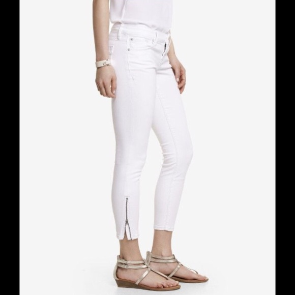 74% off Express Denim - Express White Stella Zipper Skinny Jeans ...