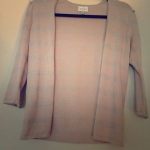 Frenchi size small pale pink and silver cardigan