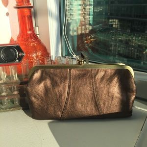 Metallic bronze, double wallet