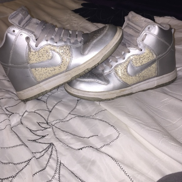 Sparkly silver Nike air forces high tops. M 5529d5b5ea3f362b0500a825 d4f2a6c291