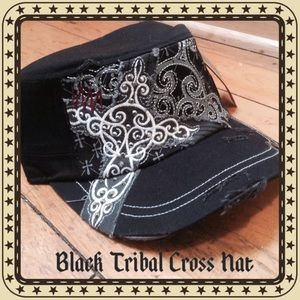 ⚫️Black Tribal Cross Hat⚫️