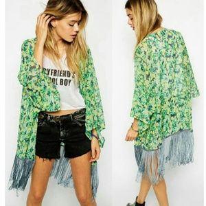 Tops - CLEAR OUT SALE!! Green Floral Kimono Open Cardigan