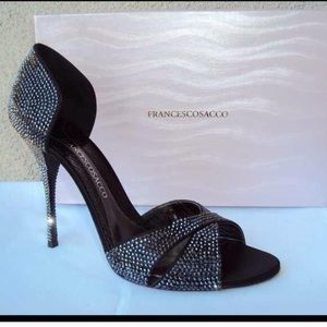 Francesco Sacco Shoes - Francesco Sacco Black Swarovski Crystal Heels