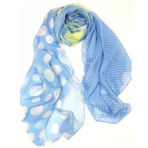 Custom Accessories - B68 Mixed Media Blue White Yellow Polka Dot Scarf