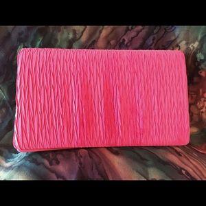 Handbags - Bright Pink Rippled Satin Clutch