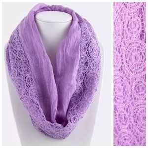 Custom Accessories - B73 Dual Side Cut Out Lace Purple Infinity Scarf