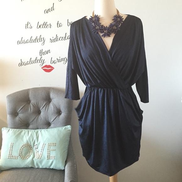 Forever 21 Dresses - Wrap top NAVY blue Mini Dress w/Pockets! Size S 😊