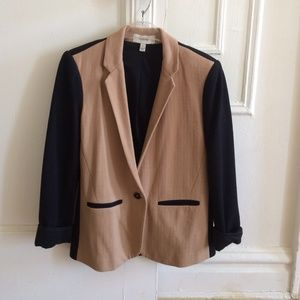 JCrew camel and black blazer!