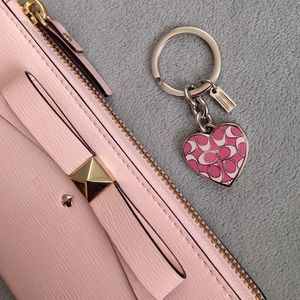 Coach Signature Pink Heart Locket Key Chain Fob