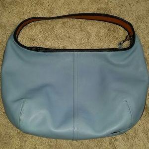 Lite blue leather coach bag