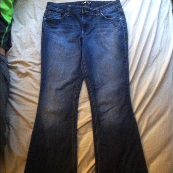 50% off lei Pants - L.E.I. Sophia Hipster Flare Jeans Junior Size ...