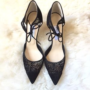 Jimmy Choo Shoes - Jimmy Choo Vince Tie Front Black d'Orsay Stilettos
