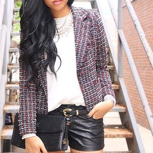 Jackets & Blazers - black / red / white tweed blazer