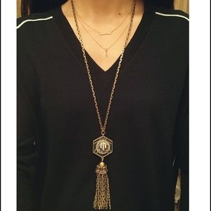 LULU FROST J.CREW MIDNIGHT MOON TASSEL NECKLACE