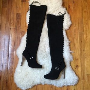 Unique Shoes - 🎉2xHP🎉Black Thigh High Suede Lace Up Boots