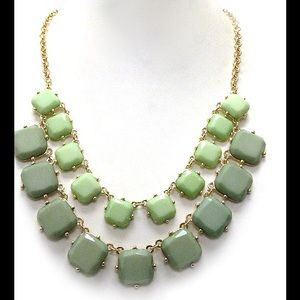 Mint green  gold tone statement necklace new